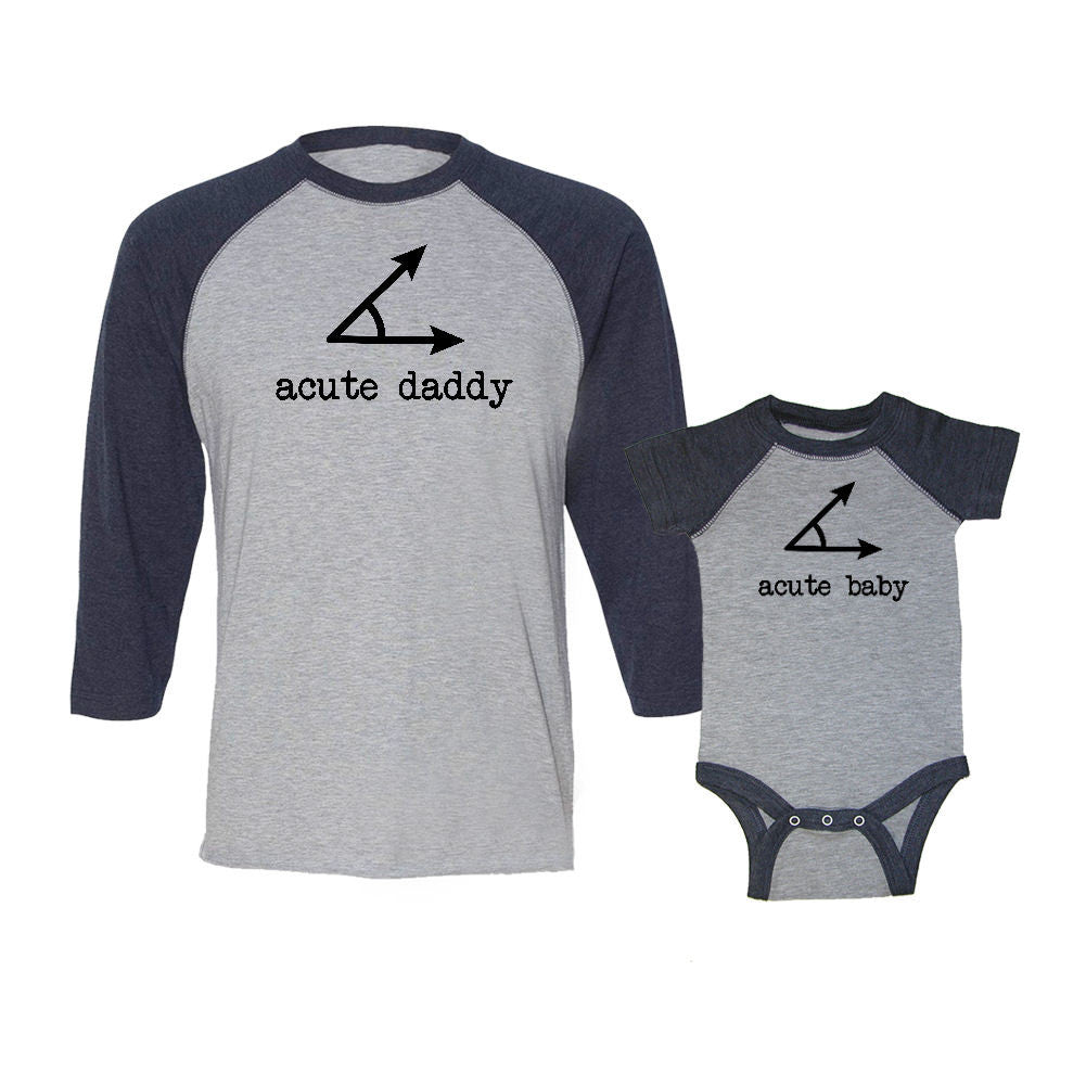 We Match!™ Acute Daddy & Acute Baby Matching Adult & Child 3/4 Sleeve Baseball T-Shirt Set
