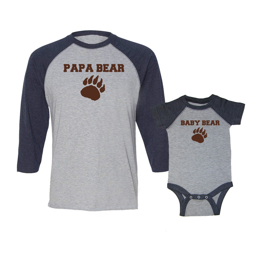 We Match!™ Papa Bear & Baby Bear Matching Adult & Child 3/4 Sleeve Baseball T-Shirt Set