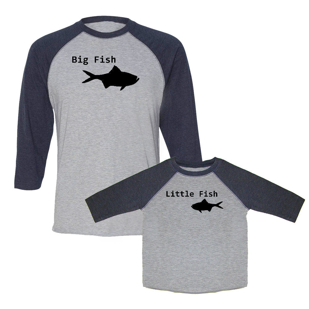 We Match!™ Big Fish & Little Fish Matching Adult & Child 3/4 Sleeve Baseball T-Shirt Set