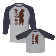 We Match!™ Big Bear & Little Bear Matching Adult & Child 3/4 Sleeve Baseball T-Shirt Set