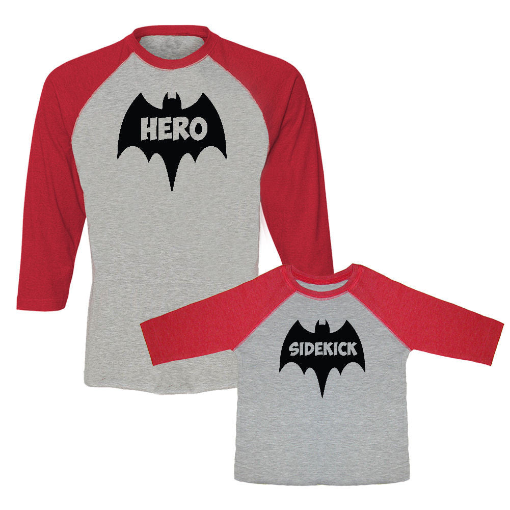 We Match!™ Hero & Sidekick (Bats) Matching Adult & Child 3/4 Sleeve Baseball T-Shirt Set