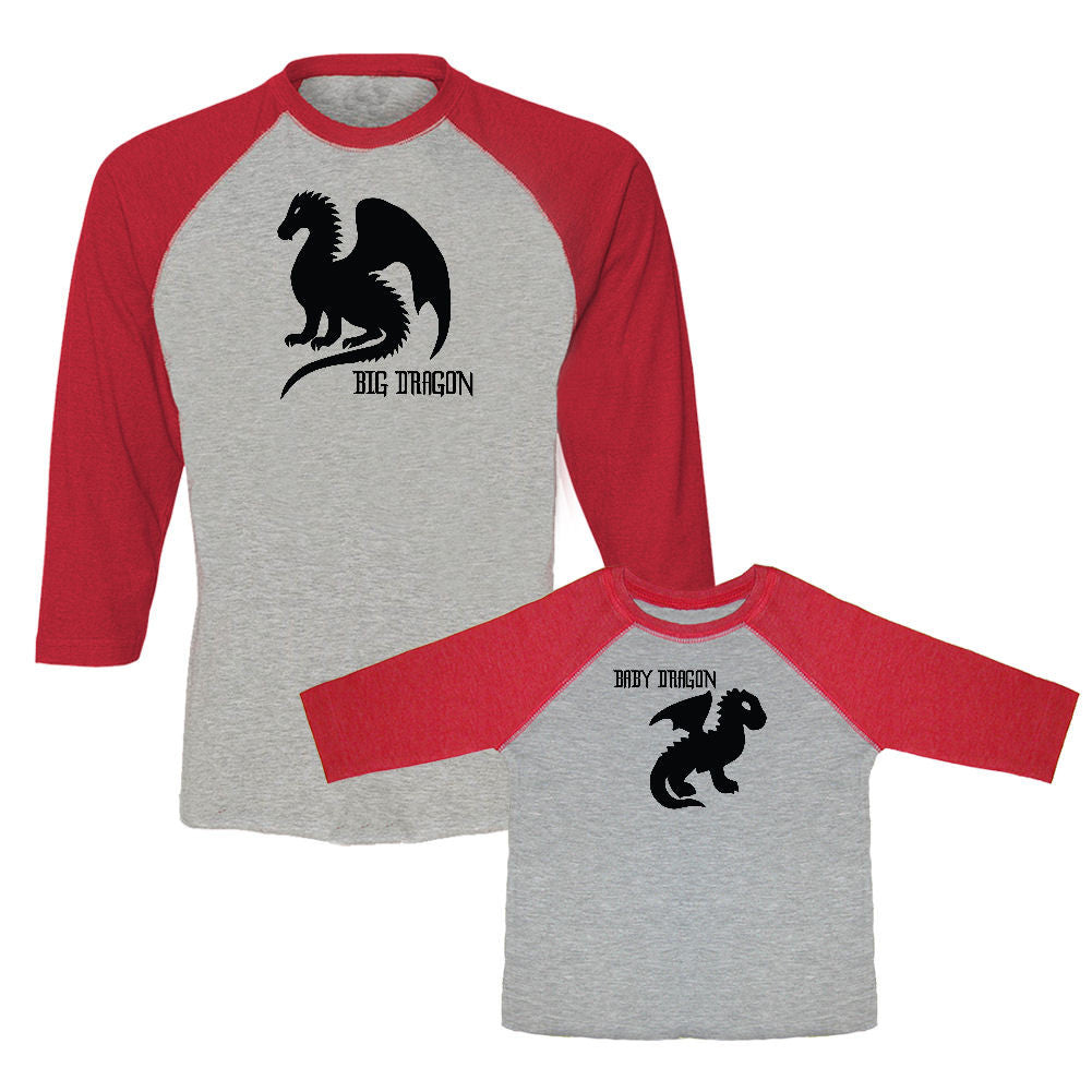 We Match!™ Big Dragon & Little Dragon Matching Adult & Child 3/4 Sleeve Baseball T-Shirt Set (Game of Thrones)