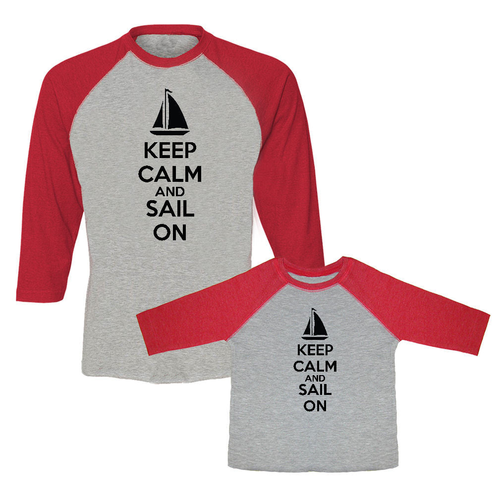 We Match!™ Keep Calm & Sail On (Sailboat) Matching Adult & Child 3/4 Sleeve Baseball T-Shirt Set