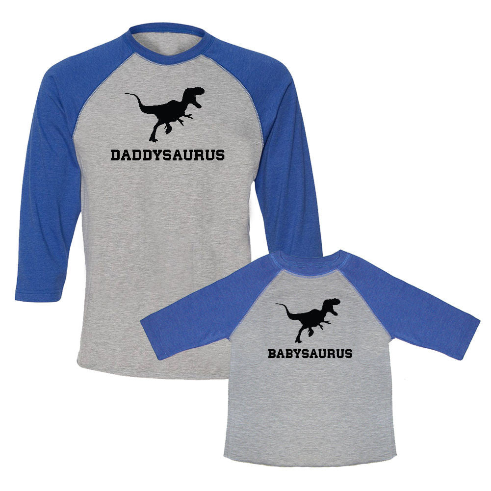 We Match!™ Daddysaurus & Babysaurus Matching Adult & Child 3/4 Sleeve Baseball T-Shirt Set