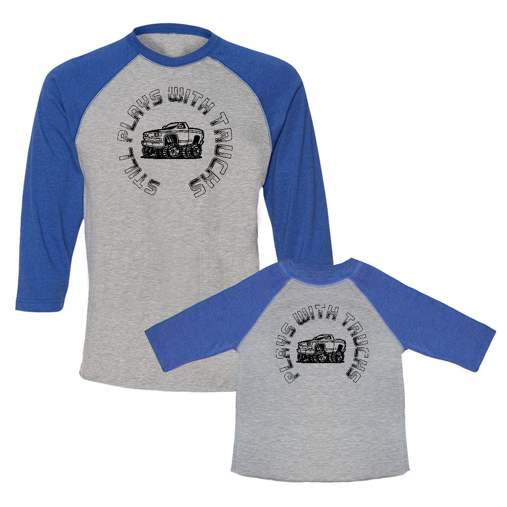 We Match!™ Still Plays With Trucks & Plays With Trucks (Monster Truck) Matching Adult & Child 3/4 Sleeve Baseball T-Shirt Set