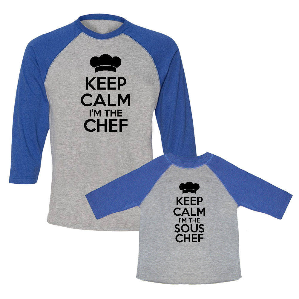 We Match!™ Keep Calm I'm The Chef & Keep Calm I'm The Sous Chef Matching Adult & Child 3/4 Sleeve Baseball T-Shirt Set