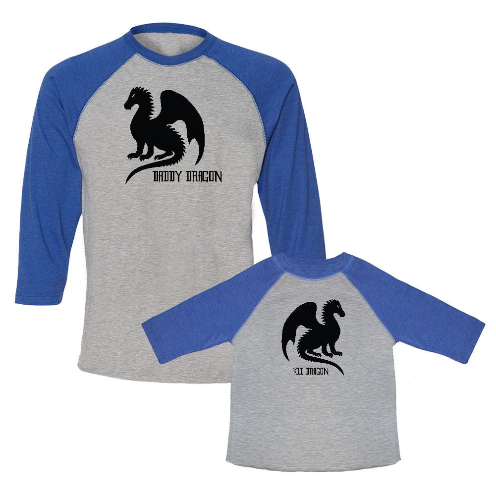 We Match!™ Daddy Dragon & Kid Dragon Matching Adult & Child 3/4 Sleeve Baseball T-Shirt Set (Game of Thrones)