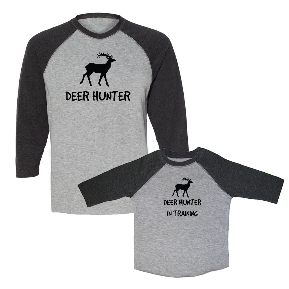 We Match!™ Deer Hunter & Deer Hunter In Training Matching Adult & Child 3/4 Sleeve Baseball T-Shirt Set