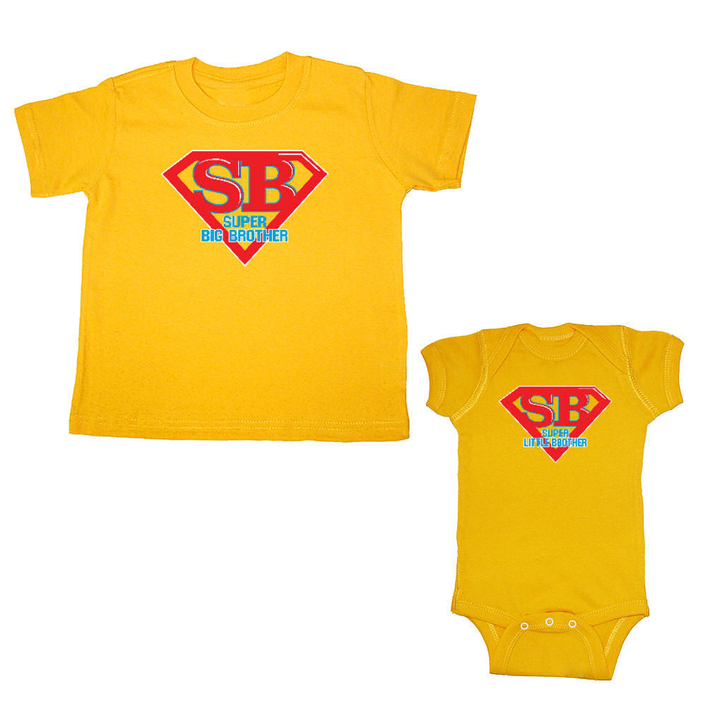 We Match!™ Super Big Brother & Super Little Brother Matching Bodysuit & T-Shirt Sibling Set