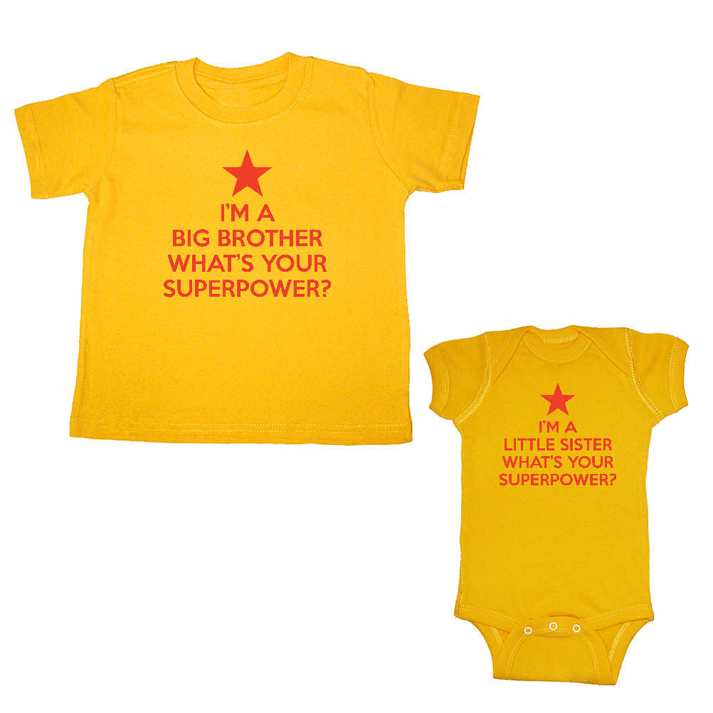 We Match!™ Im' A Big Brother What's Your Superpower? & I'm A Little Sister What's Your Superpower? Matching Bodysuit & T-Shirt Sibling Set