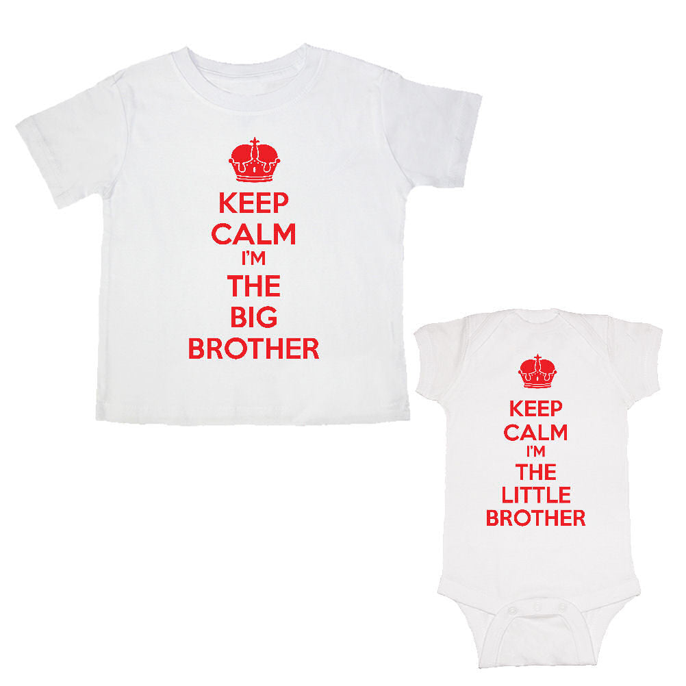 We Match!™ Keep Calm I'm The Big Brother & Keep Calm I'm The Little Brother Matching Bodysuit & T-Shirt Sibling Set