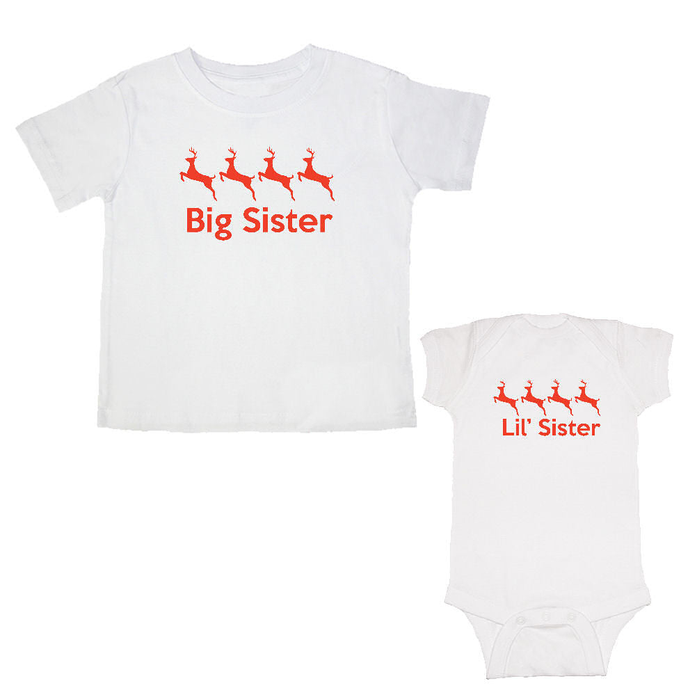 We Match!™ Big Sister & Little Sister (Reindeer) Matching Bodysuit & T-Shirt Sibling Set