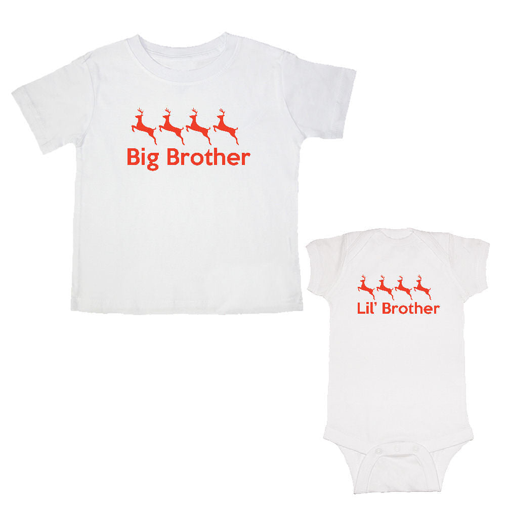 We Match!™ Big Brother & Little Brother (Reindeer) Matching Bodysuit & T-Shirt Sibling Set