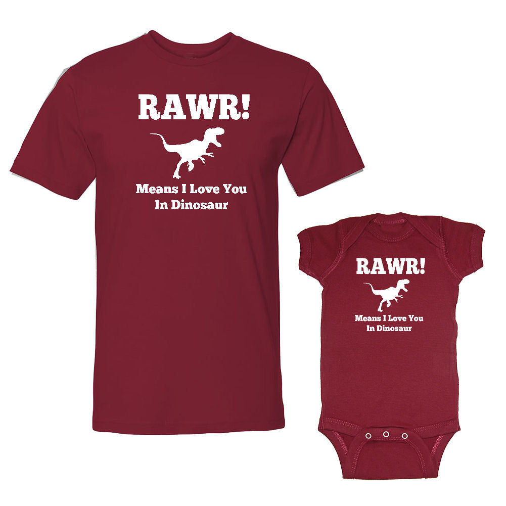 We Match!™ Rawr! Means I Love You In Dinosaur Matching Shirts For Family Set