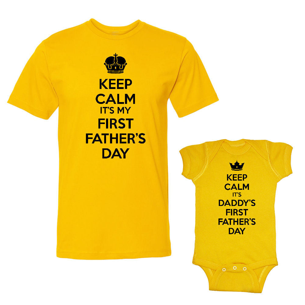 We Match!™ Keep Calm It's My First Father's Day & It's Daddy's First Father's Day Matching Shirts For Family Set