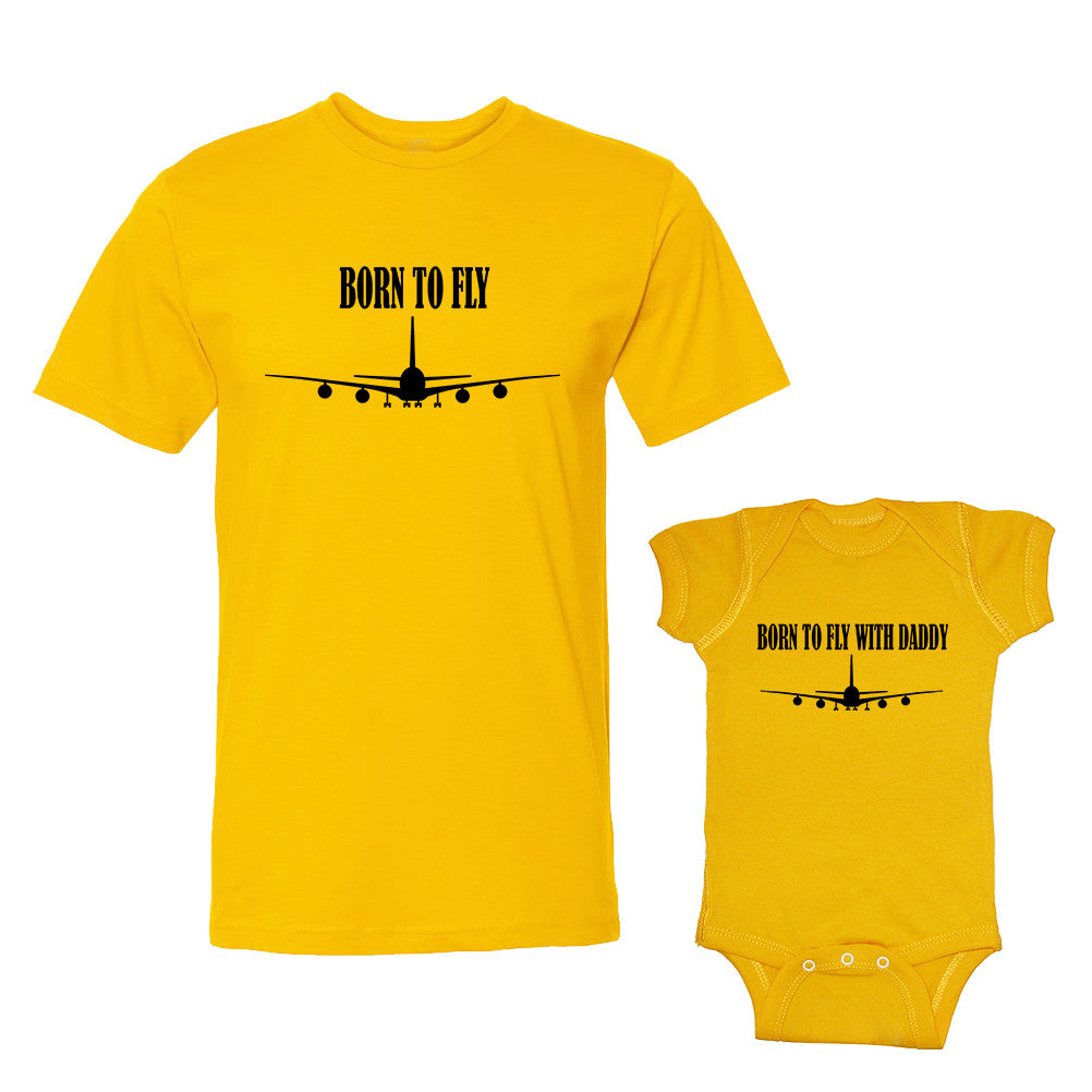 We Match!™ Born To Fly & Born To Fly With Daddy Matching Shirts For Family Set