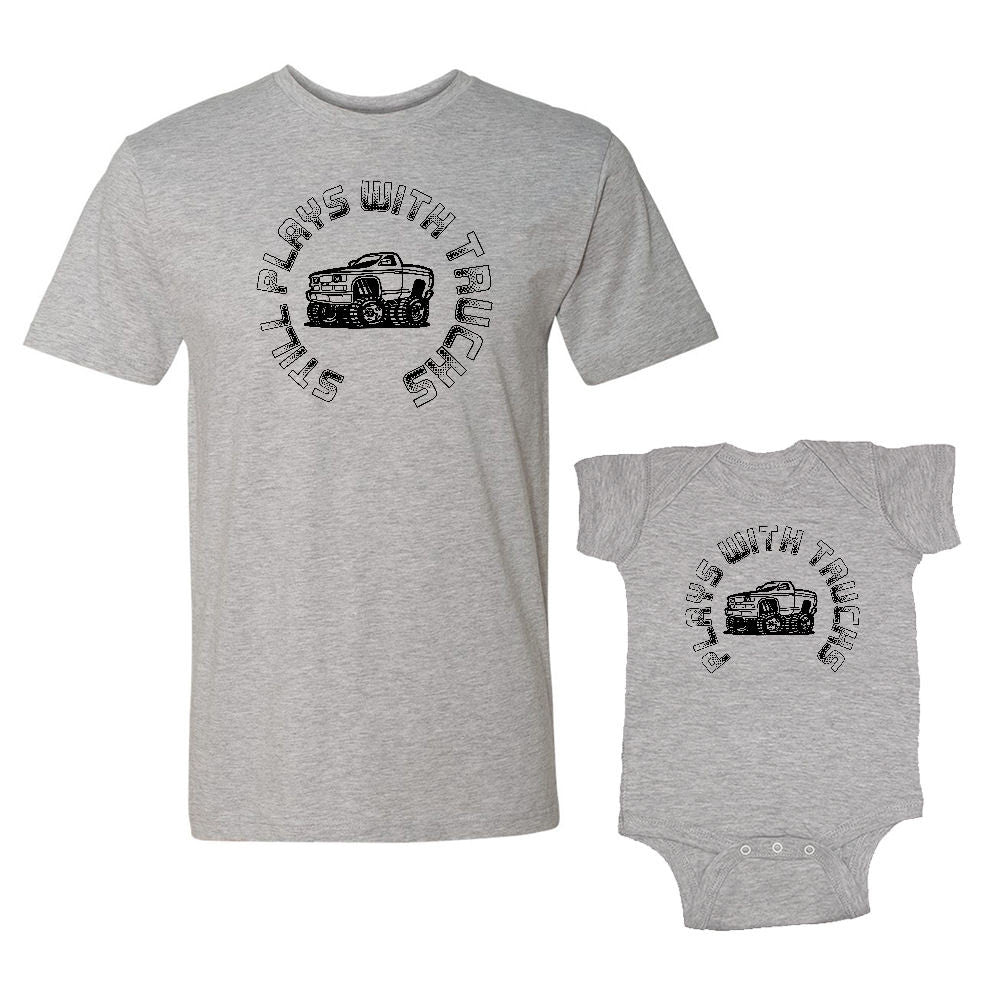 We Match!™ Still Plays With Trucks & Plays With Trucks (Monster Truck) Matching Shirts For Family Set