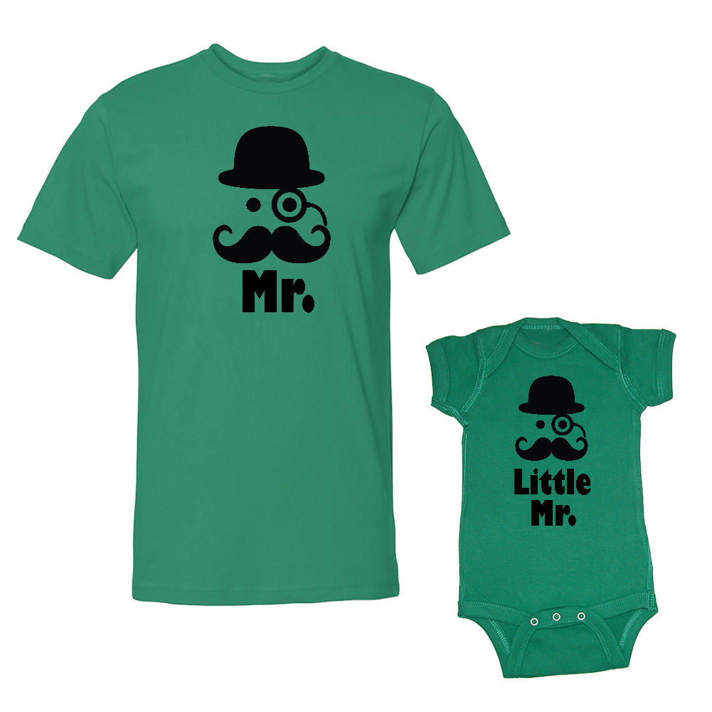 We Match!™ Mr. & Little Mr. (Hat & Mustache) Matching Shirts For Family Set