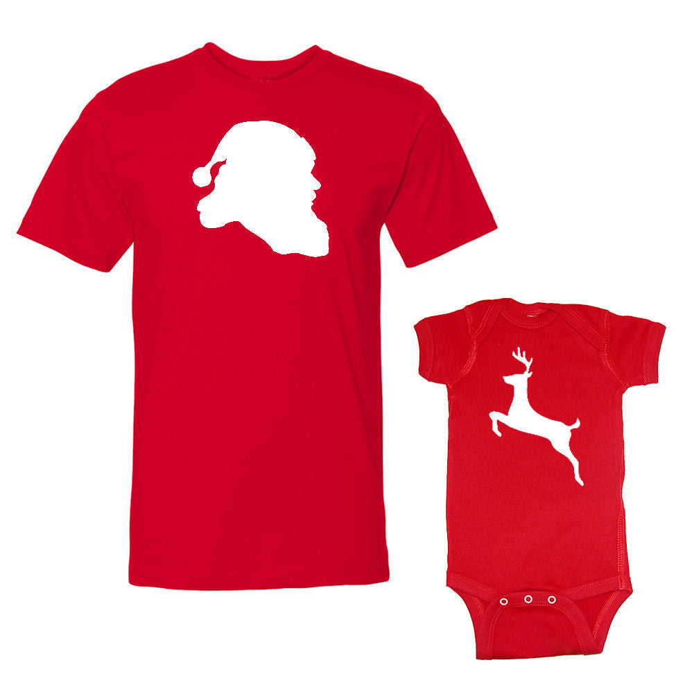 We Match!™ Santa Claus & Reindeer Christmas Matching Shirts For Family Set