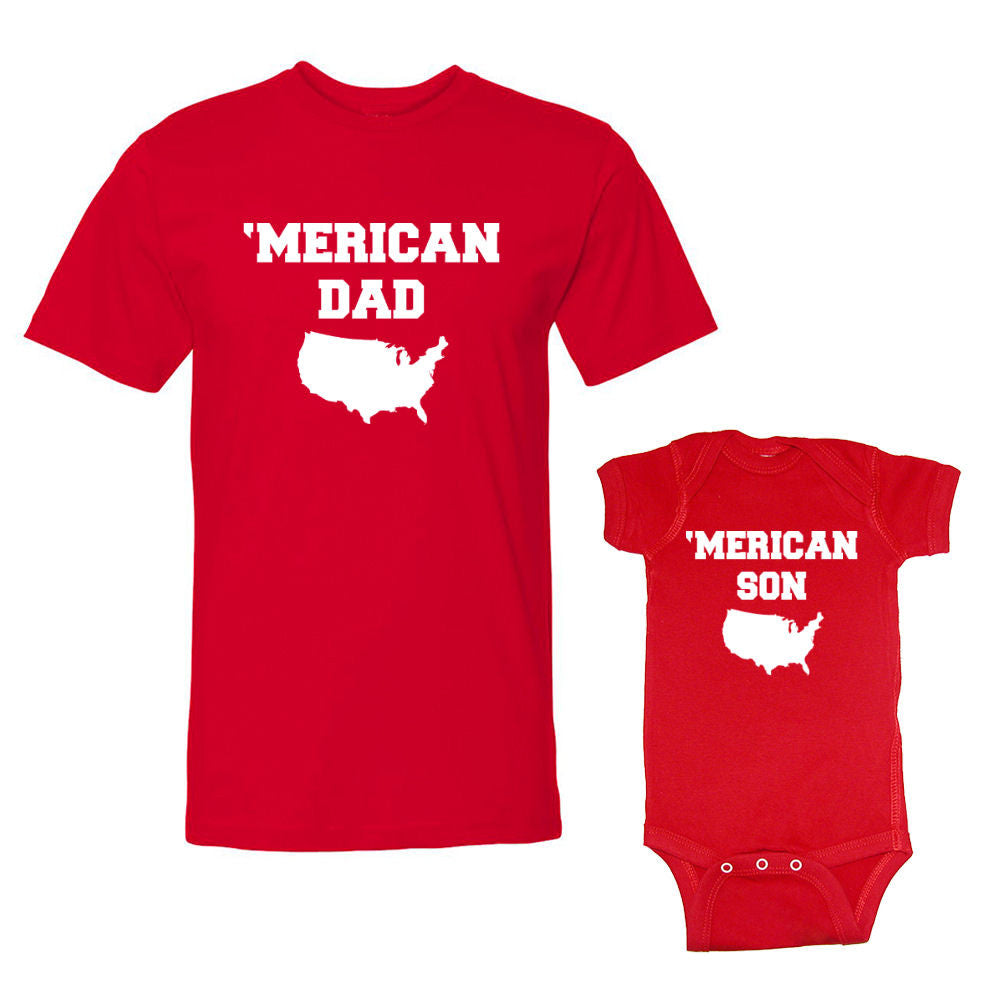 We Match!™ 'Merican Dad & 'Merican Son Matching Shirts For Family Set