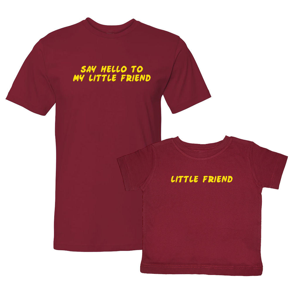 We Match!™ Say Hello To My Little Friend & Little Friend Funny Matching Shirts For Family Set