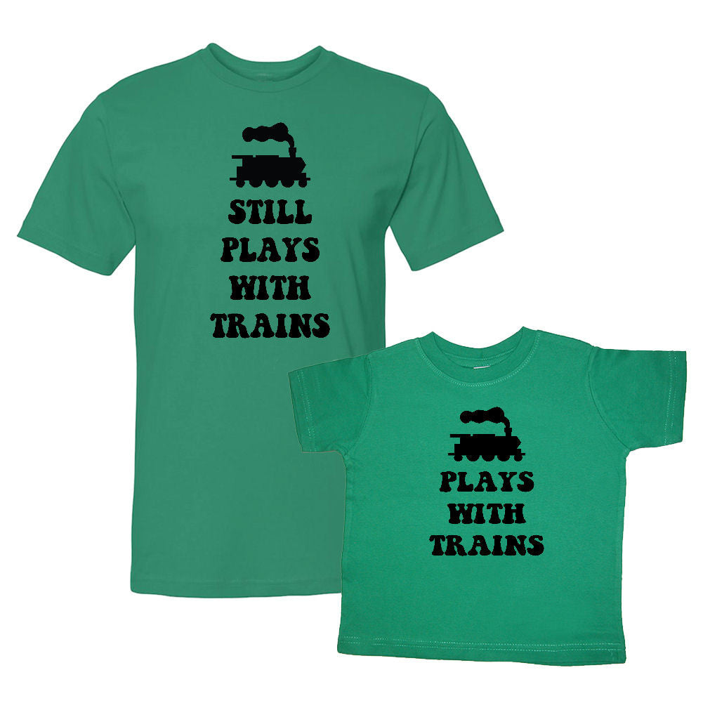 We Match!™ Still Plays With Trains & Plays With Trains (Train Locomotive) Matching Shirts For Family Set