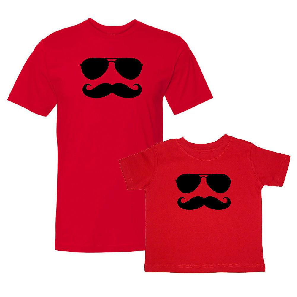 We Match!™ Aviators & Mustache Hipster Matching Shirts For Family Set