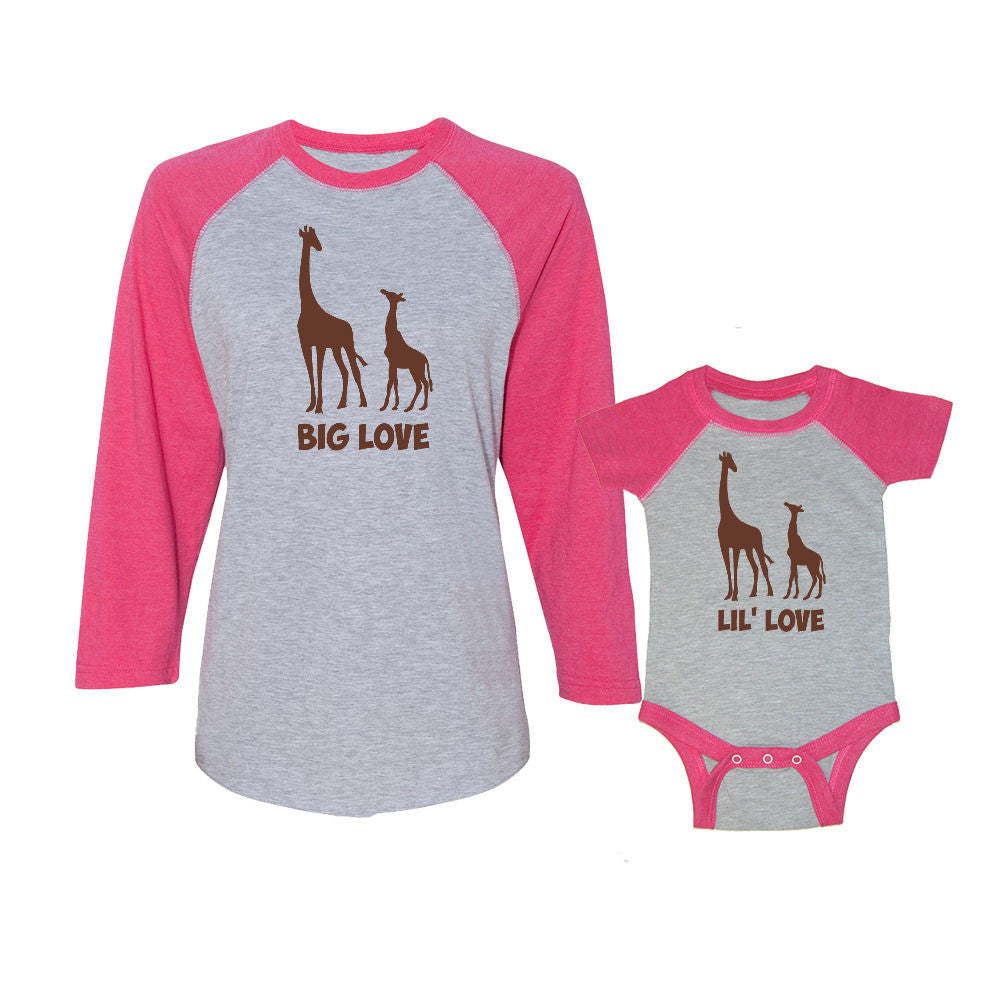 We Match!™ Big Love & Little Love (Giraffes) Matching Adult & Child 3/4 Sleeve Baseball T-Shirt Set