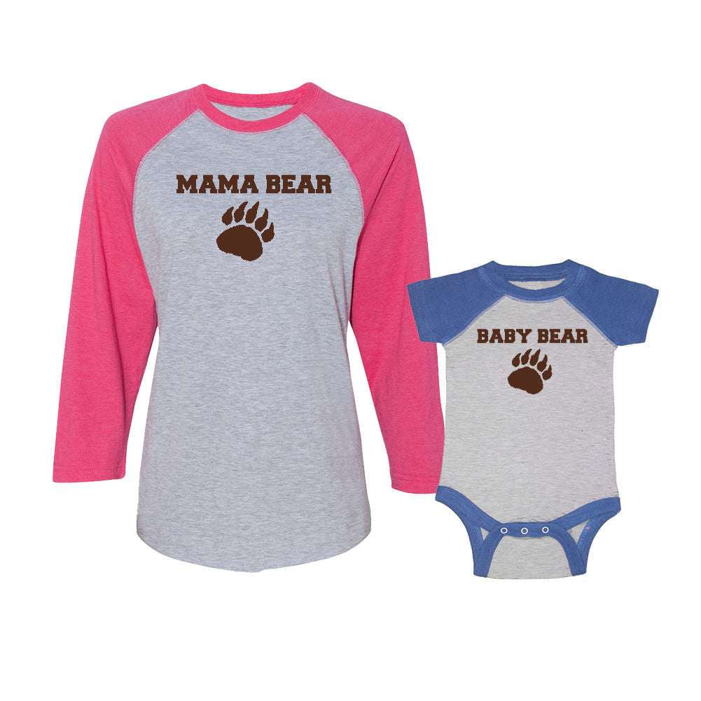We Match!™ Mama Bear & Baby Bear Matching Adult & Child 3/4 Sleeve Baseball T-Shirt Set