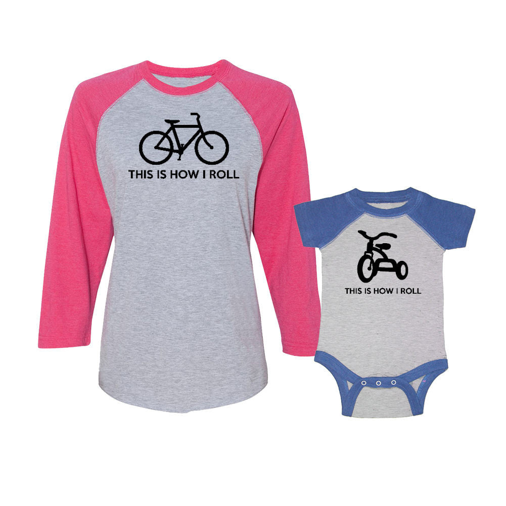 We Match!™ This Is How I Roll Bike & Tricycle Bicycle Matching Adult & Child 3/4 Sleeve Baseball T-Shirt Set