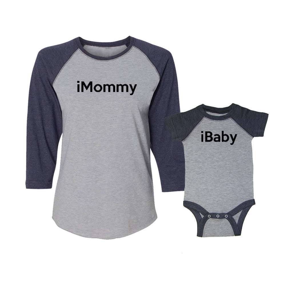 We Match!™ iMommy & iBaby Matching Adult & Child 3/4 Sleeve Baseball T-Shirt Set