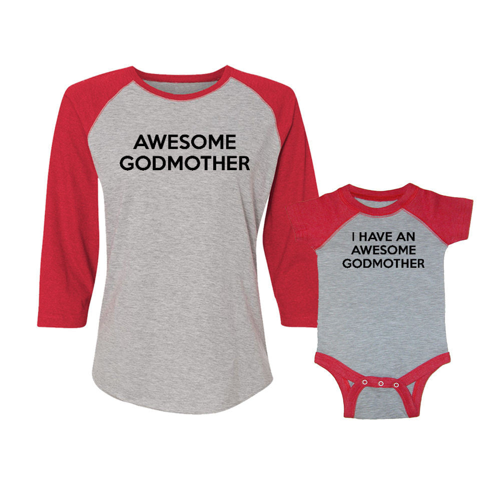 We Match!™ Awesome Godmother & I Have An Awesome Godmother Matching Adult & Child 3/4 Sleeve Baseball T-Shirt Set
