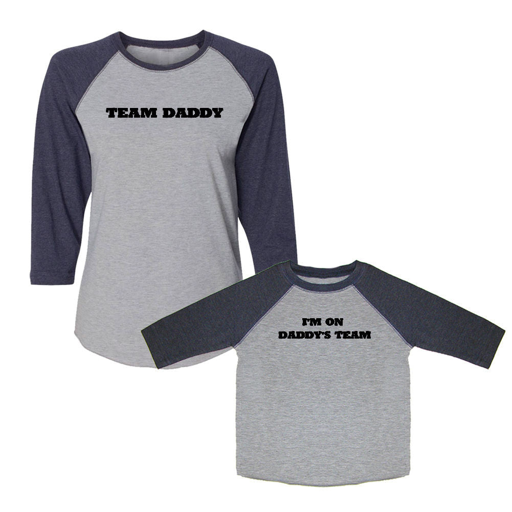 We Match!™ Team Daddy/I'm On Daddy's Team Matching Adult & Child 3/4 Sleeve Baseball T-Shirt Set