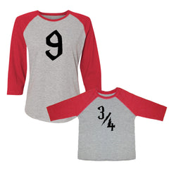 We Match!™ 9 & 3/4 Nine And Three-Quarters Platform Matching Adult & Child 3/4 Sleeve Baseball T-Shirt Set - Harry Potter