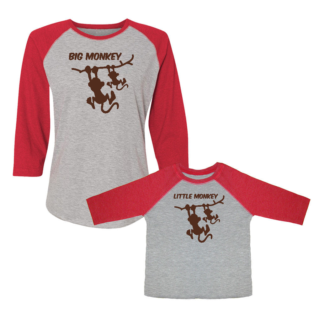 We Match!™ Big Monkey & Little Monkey Matching Adult & Child 3/4 Sleeve Baseball T-Shirt Set