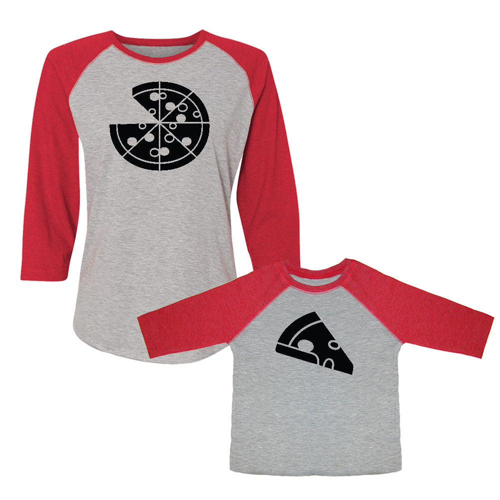 We Match!™ Pizza Pie & Pizza Slice Matching Adult & Child 3/4 Sleeve Baseball T-Shirt Set