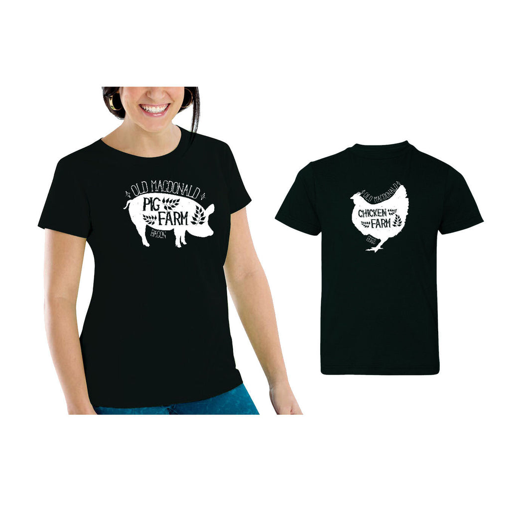 We Match!™ Old MacDonald Farm Pig & Chicken (Bacon & Eggs) Matching Shirts For Family Set