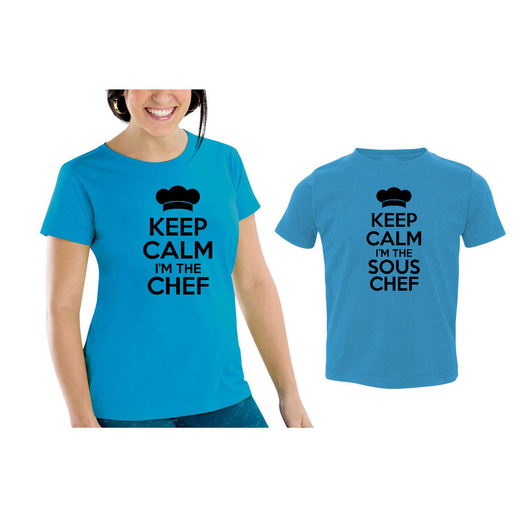 We Match!™ Keep Calm I'm The Chef & I'm The Sous Chef Matching Shirts For Family Set