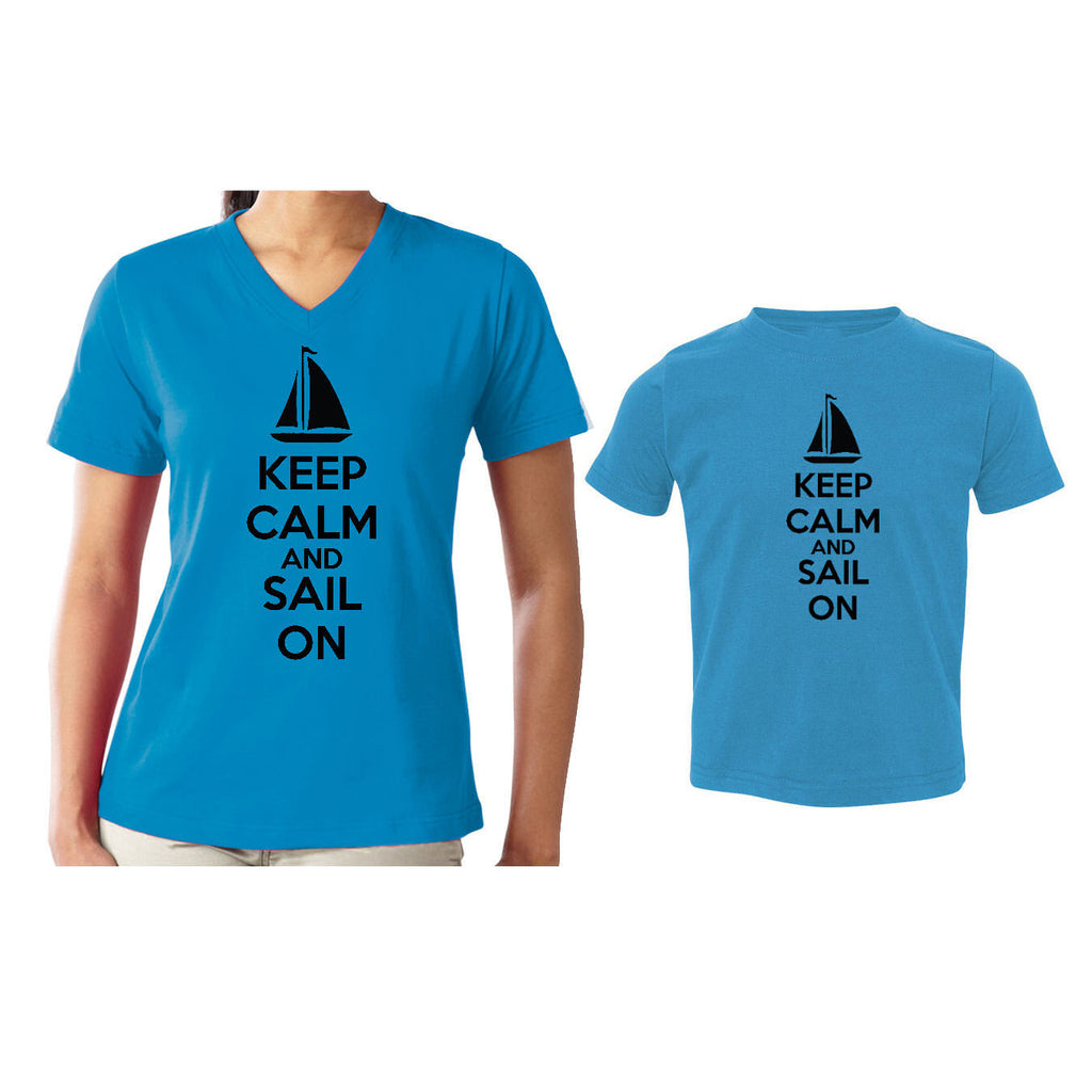 We Match!™ Keep Calm & Sail On (Sailboat) Matching Shirts For Family Set