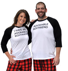 I Have An Adorable Boyfriend & Adorable Boyfriend Matching Couples Red & Black Three-Quarter Sleeve Flannel Pajamas Set
