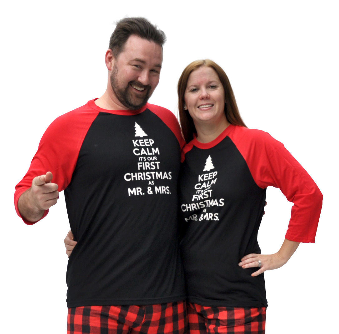 Our First Christmas As Mr. & Mrs. Matching Couples Red & Black Three-Quarter Sleeve Flannel Pajamas Set