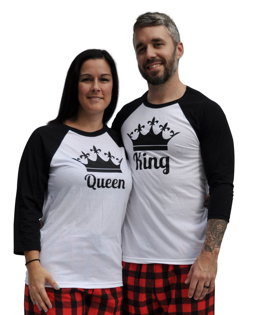 King & Queen Crowns Matching Couples Red & Black Three-Quarter Sleeve Flannel Pajamas Set