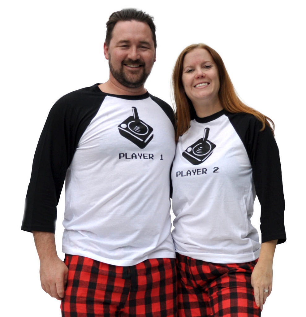 Player 1 & Player 2 Retro Joystick Matching Couples Red & Black Three-Quarter Sleeve Flannel Pajamas Set