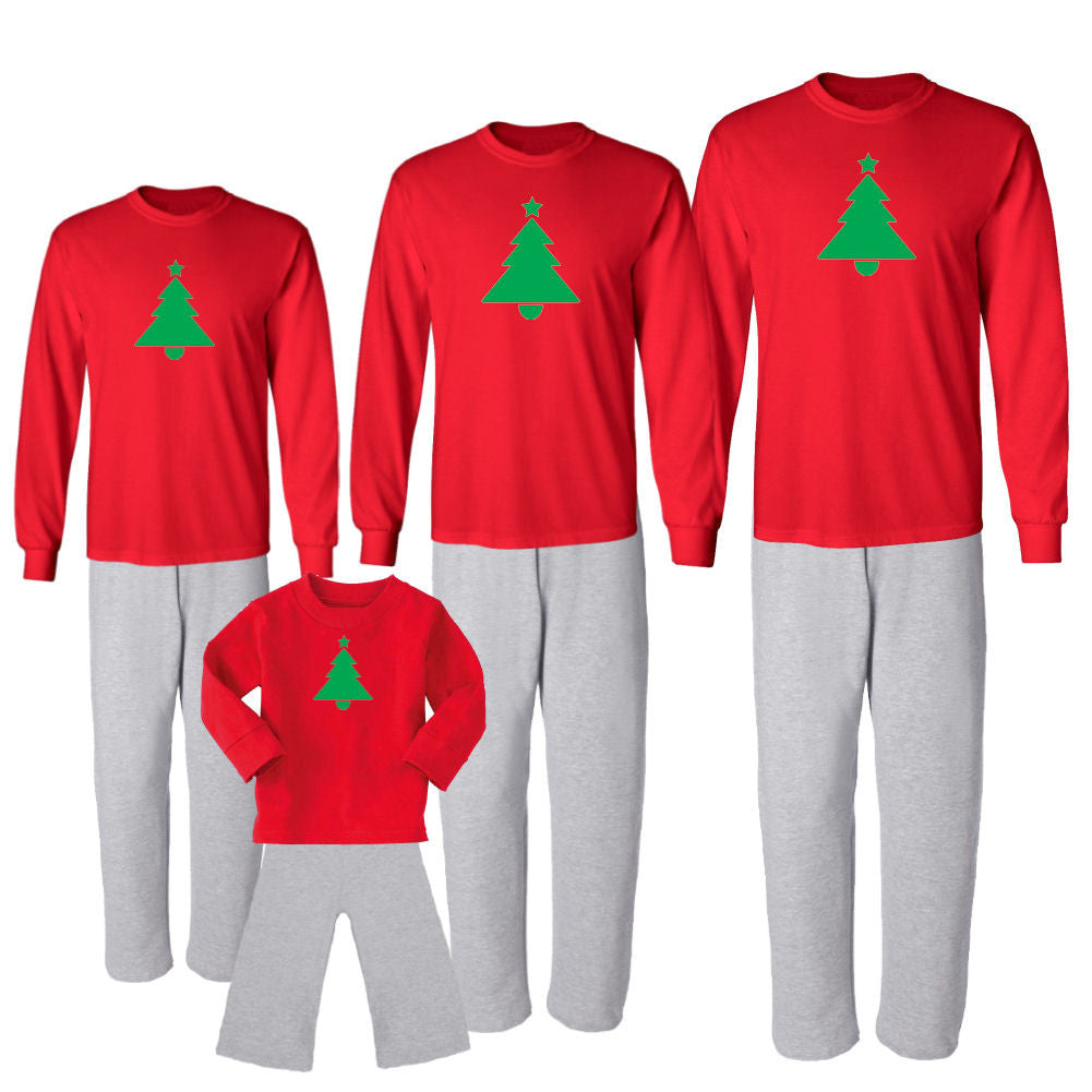 We Match! Vibrant Christmas Tree Matching Holiday Outfits Pajamas Set - Infant Through Adult Size (Assorted Colors)