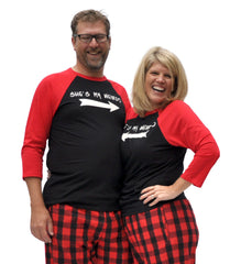 He's My Weirdo & She's My Weirdo Matching Couples Red & Black Three-Quarter Sleeve Flannel Pajamas Set