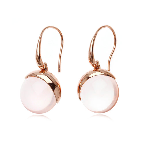 Bonbons Rose Quartz 18K Gold plated Sterling Silver earings