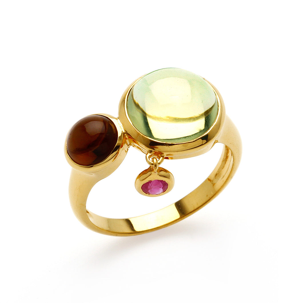 Bonbons Quartz 18K gold plated Sterling Silver Ring