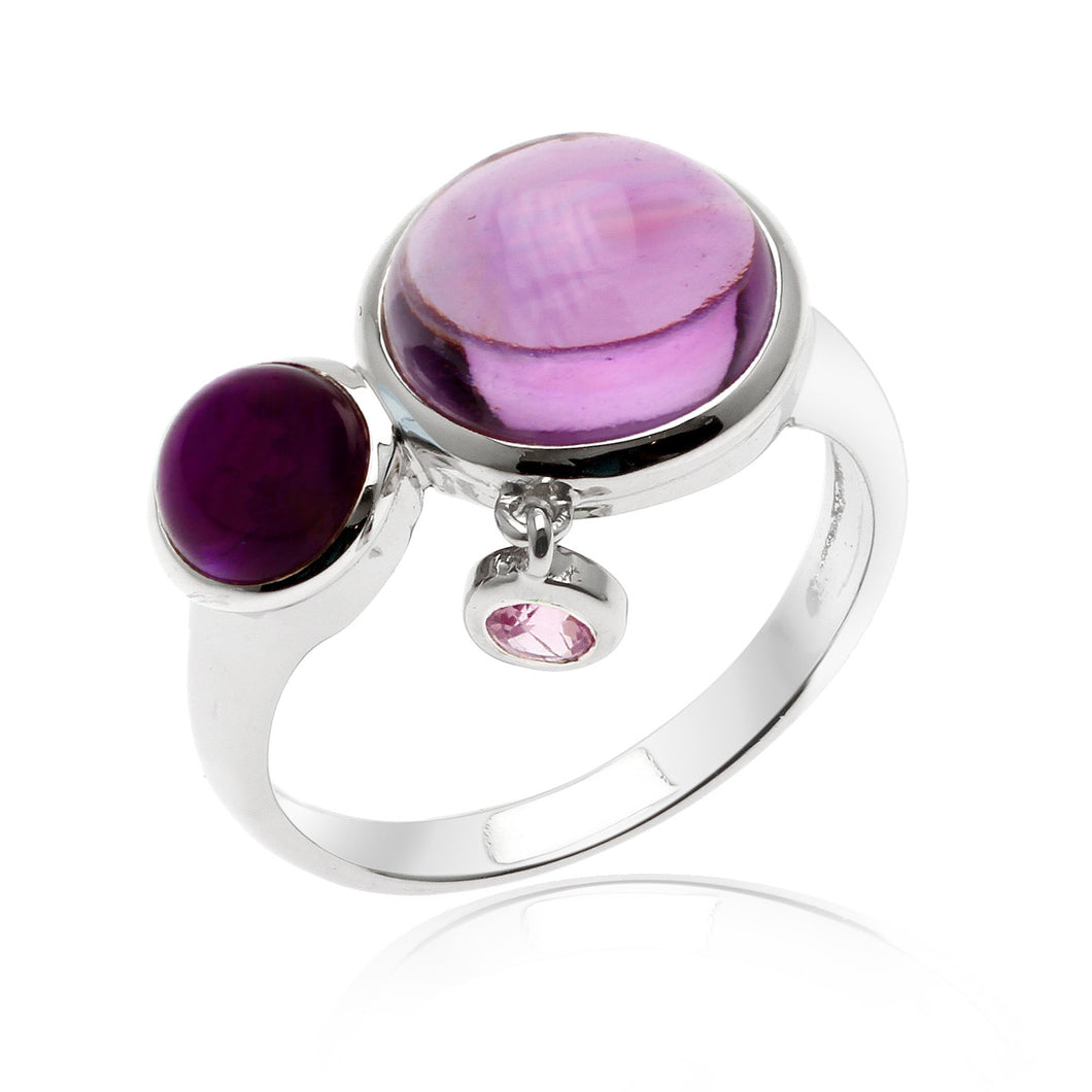 Bonbons Amethyst Rhodium plated Sterling Silver Ring