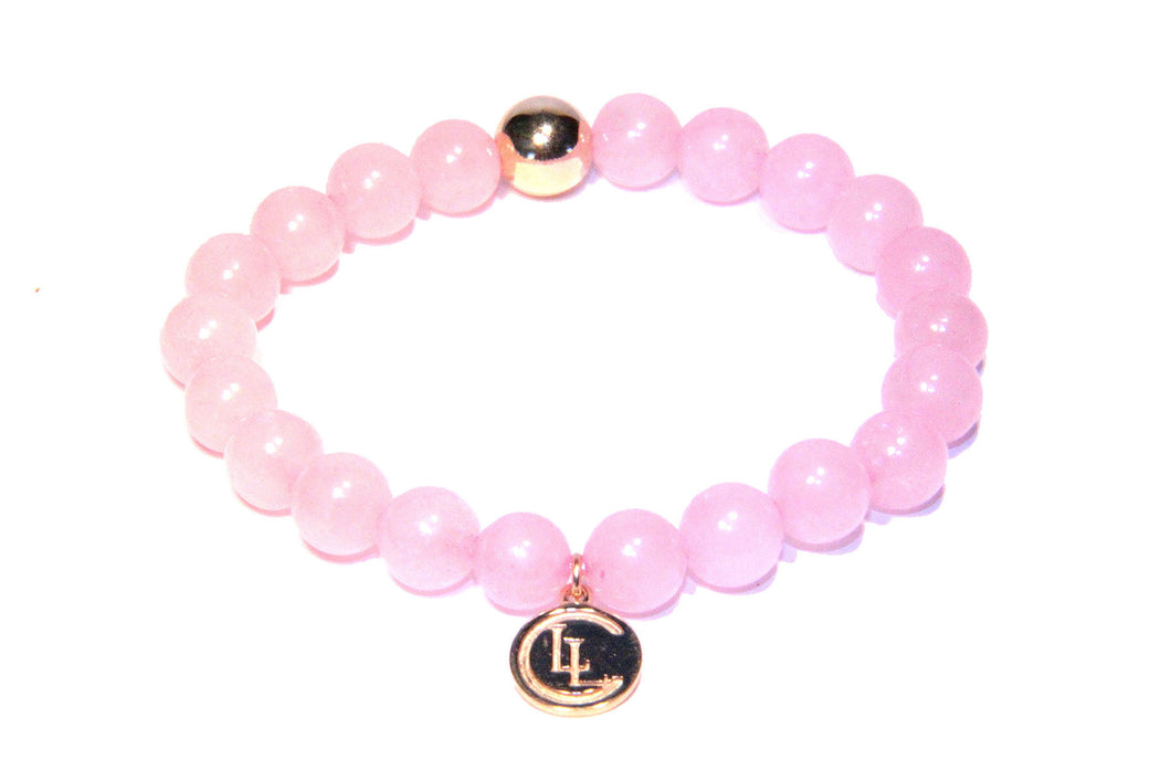 Rose quartz 14K gold bracelet - LILACLABEL - 1