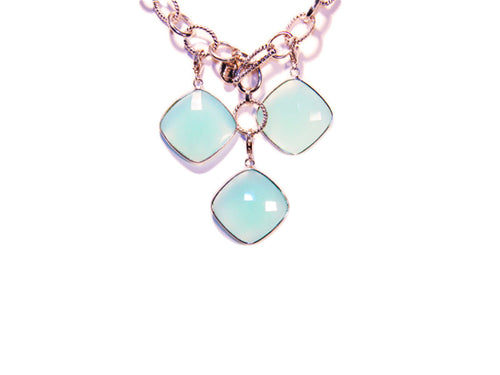 Sterling Silver aqua Chalcedony charm - LILACLABEL - 1
